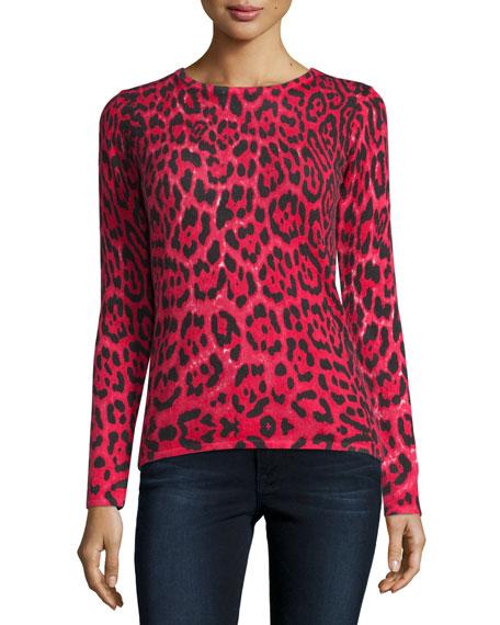 Neiman Marcus Cashmere Collection Cashmere Leopard-Print Crewneck