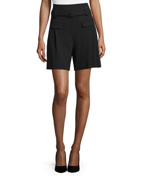 Diane von Furstenberg Chapman Belted High-Waist Shorts, Black