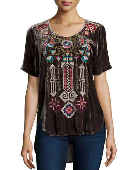 Dani Short-Sleeve Embroidered Velvet Tee, Coffee