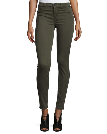 J Brand 485 Mid-Rise Super-Skinny Sateen Jeans, Green