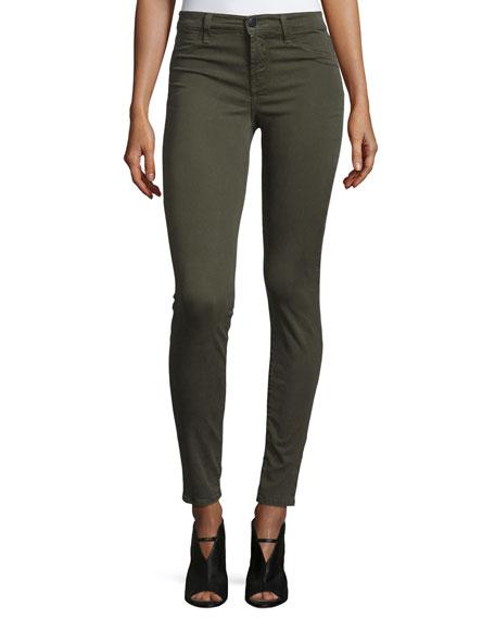 J Brand 485 Mid-Rise Super-Skinny Sateen Jeans, Green