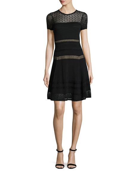 Diane von Furstenberg Celina Pointelle Party Dress, Black