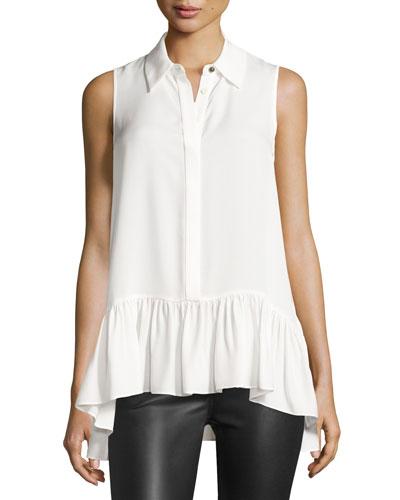 Lanzi Sleeveless Ruffle-Hem Silk Shirt, Ivory