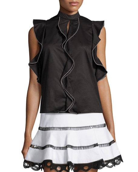 Mariena Contrast-Trim Ruffle Top, Black