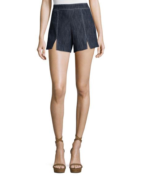 Alexis Meghan Contrast-Stitch Shorts, Indigo