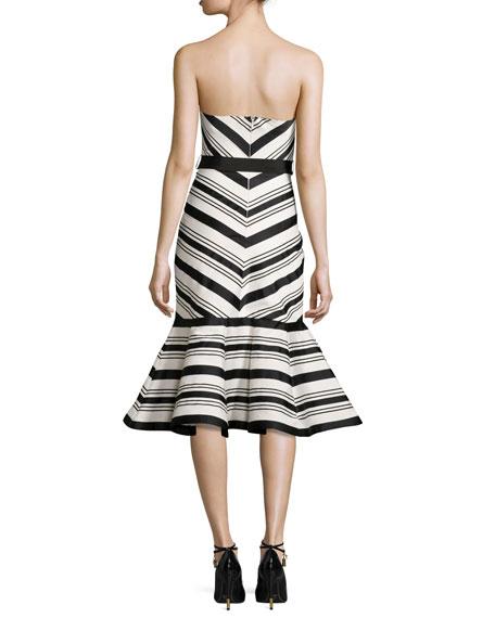 Kirsten Striped Strapless Cocktail Dress, Black/White