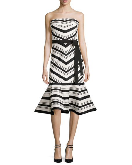 Alexis Kirsten Striped Strapless Cocktail Dress, Black/White