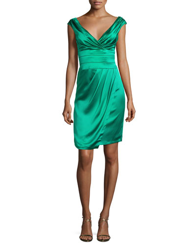 Ruched Satin Cocktail Dress, Jade