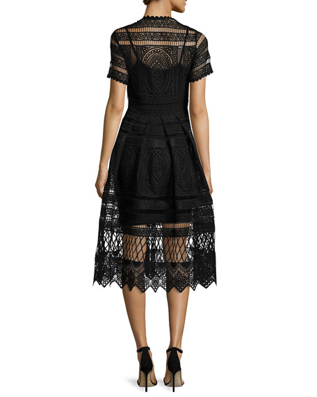 Alanna Short-Sleeve Lace Midi Dress, Black