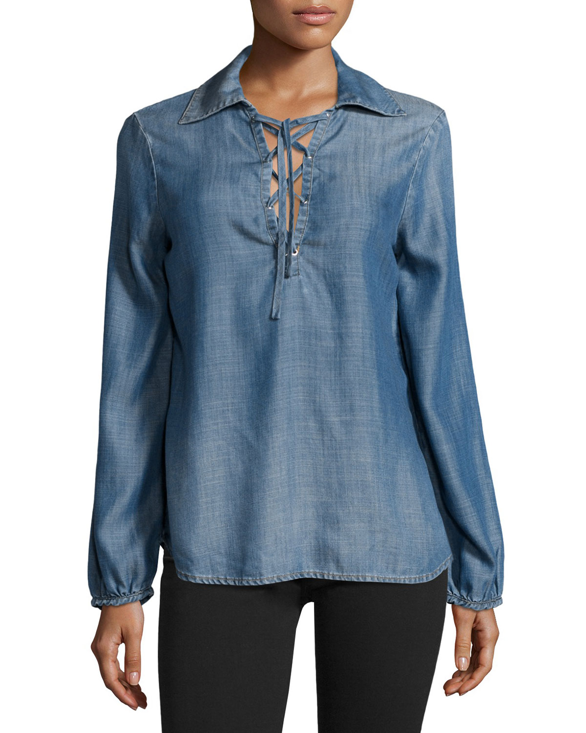 ce54e379a68f FRAME Lace-Up Chambray Blouse