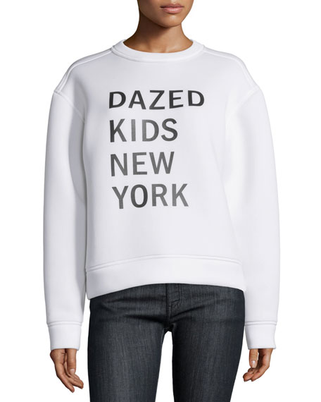 DKNY Dazed New York Kids Pullover Sweatshirt, Chalk