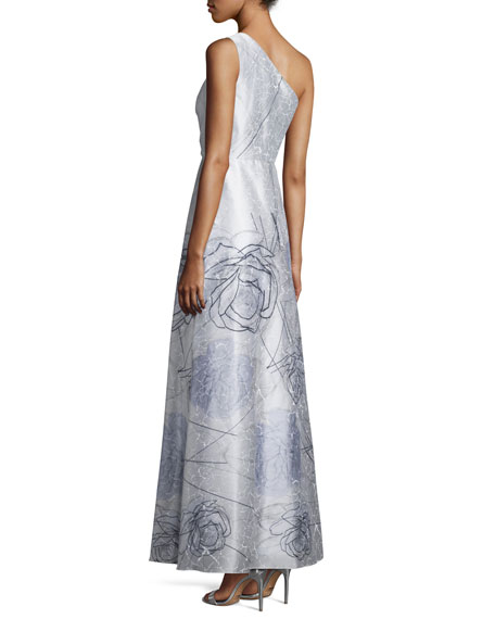 Printed One-Shoulder Gown, Mint/Multi