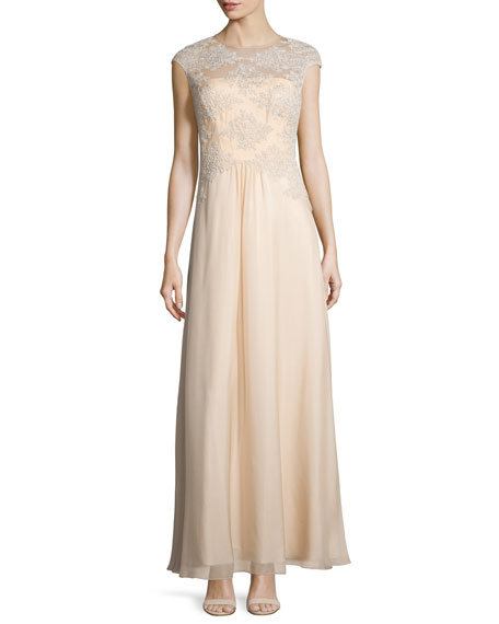 Kay Unger New York Embroidered Tulle Silk Gown,