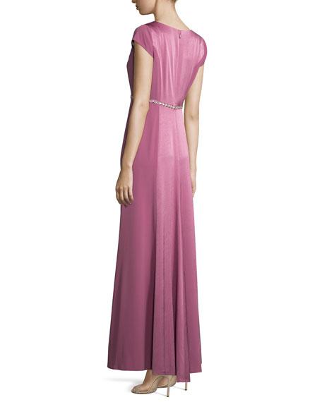 Crepe-Back Satin Belted Gown, Magenta