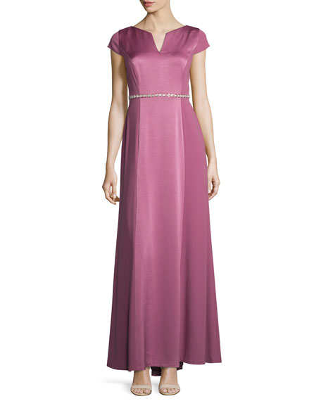 Kay Unger New York Crepe-Back Satin Belted Gown,