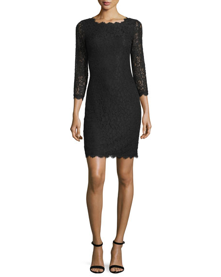 Diane von FurstenbergZarita 3/4-Sleeve Lace Sheath Dress, Black