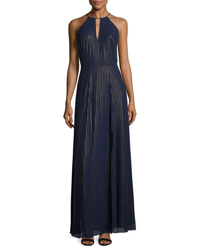 Halter Striped Chiffon A-line Gown