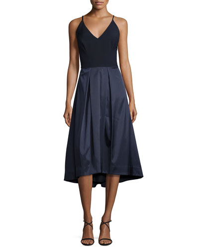 Colorblock V-Neck Fit-&-Flare Dress, Navy