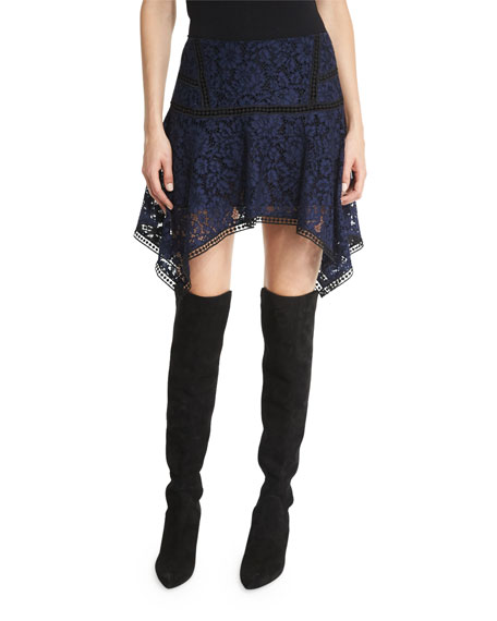 Veronica Beard Aura Paneled Floral Lace Skirt, Navy