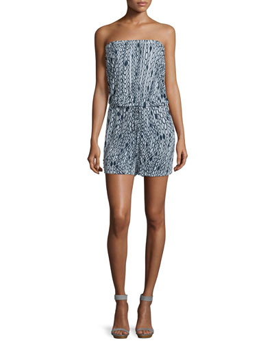 Mortola Chain-Print Strapless Romper, White/Navy