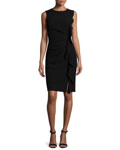 Tamara Sleeveless Ruffle-Trim Sheath Dress, Black
