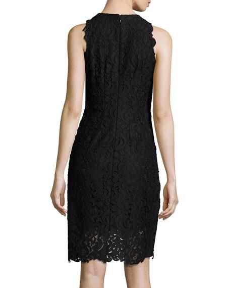 Donna Sleeveless Jewel-Neck Lace Sheath Dress, Black