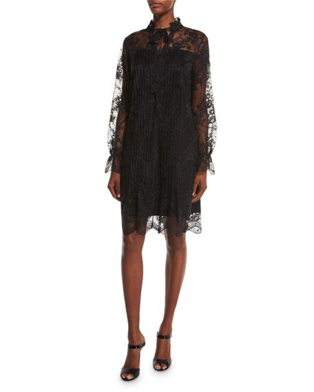 Elie Tahari Dara Long-Sleeve Lace Overlay Dress, Black