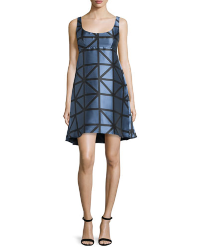 Roxanne Sleeveless Graphic Gridded Jacquard Dress, Ice/Black