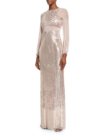Jenny Packham Sequined Long-Sleeve Column Gown, Ballet Pink