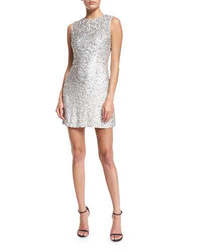 Iridescent Beaded Sleeveless Mini Dress, Silver