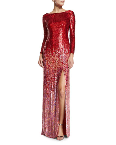 Long-Sleeve Boat-Neck Ombre Sequined Gown, Tomette