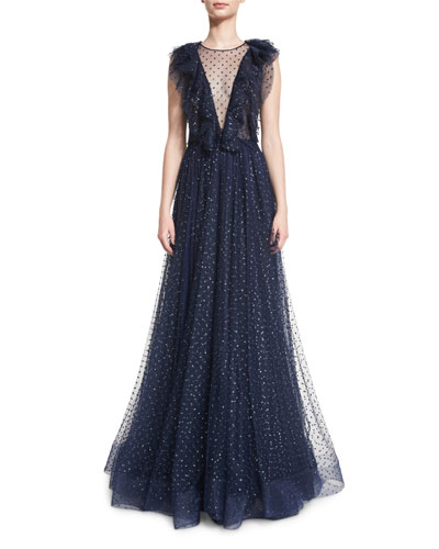Sleeveless Illusion V-Neck Ruffled Gown, Abyss Blue