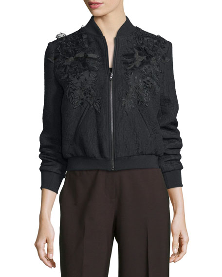 Kobi Halperin Dawn Textured Floral-Trim Bomber Jacket, Black