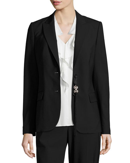 Kobi Halperin Sloane Tropical Wool Blazer, Black