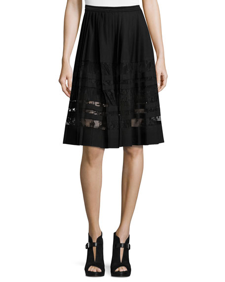 Elie Tahari Frances Pleated Lace-Paneled A-Line Skirt, Black