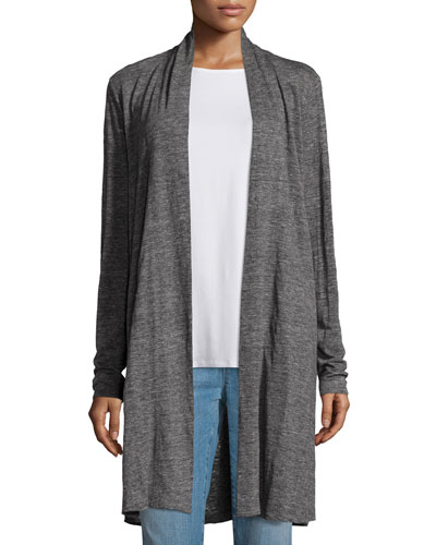 Speckle Knit Draped Long Cardigan, Plus Size