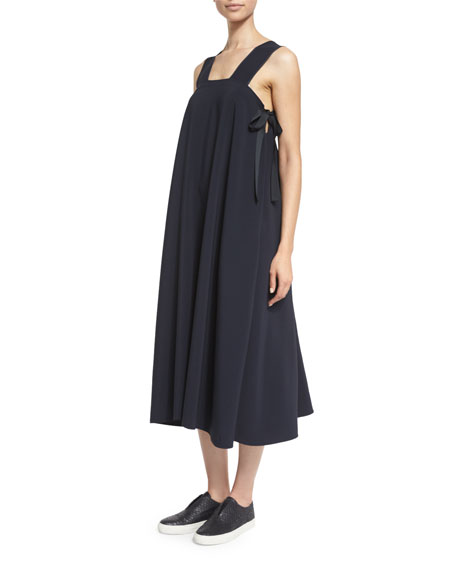 Sleeveless Side-Tie Voile Midi Dress, Navy