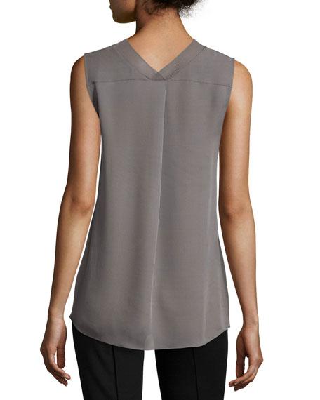 Seam-Detail Sleeveless Silk Top
