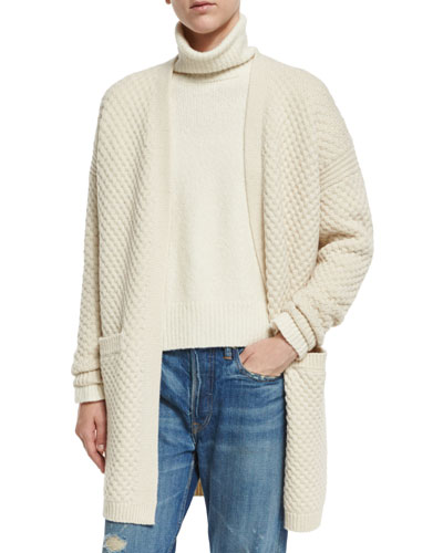 Honeycomb-Knit Long Cardigan, Winter White