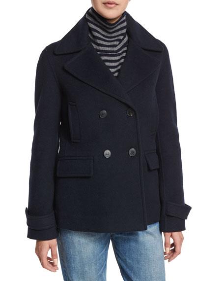 Wool-Blend Pea Coat, Coastal Blue