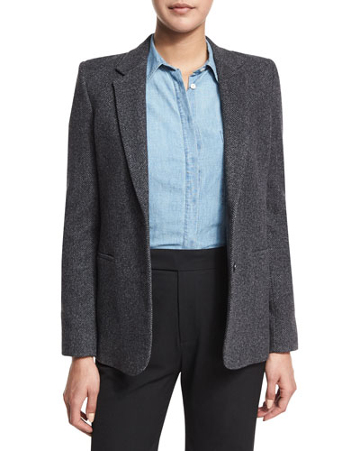 Wool-Blend Two-Button Blazer, Charcoal Price