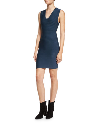 Sleeveless Ribbed V-Neck Dress, Smoke