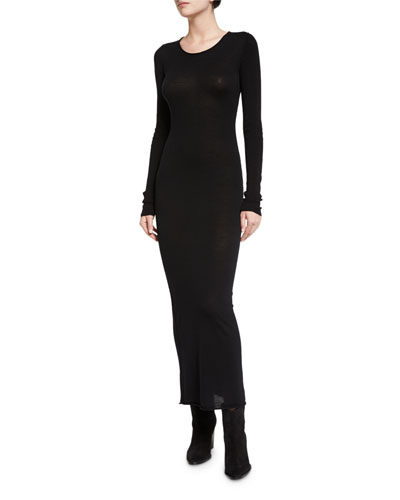Long-Sleeve Merino Jersey Maxi Dress, Black