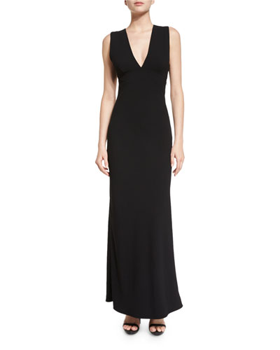 Sleeveless Crepe Open-Back Maxi Dress, Black