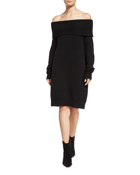 Long-Sleeve Knit Off-the-Shoulder Shift Dress, Black
