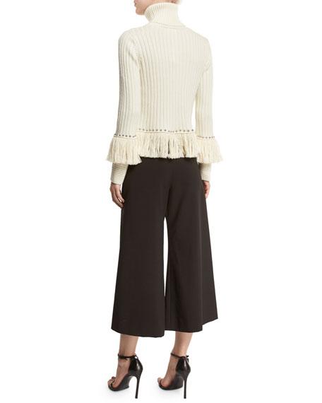 Studded & Fringed Turtleneck Sweater