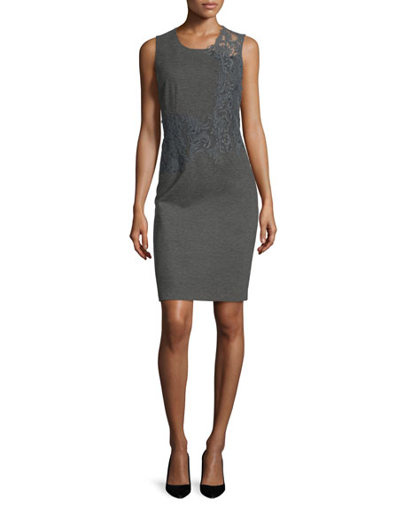 Elie Tahari Baldwin Sleeveless Lace-Trim Sheath Dress, Charcoal