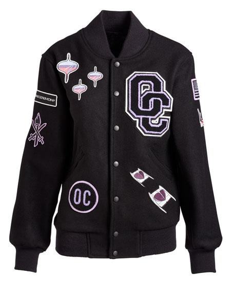 Leather-Trim Logo Varsity Jacket, Black/Multicolor