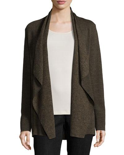 Fine Merino Birdseye Angle-Front Jacket, Caper