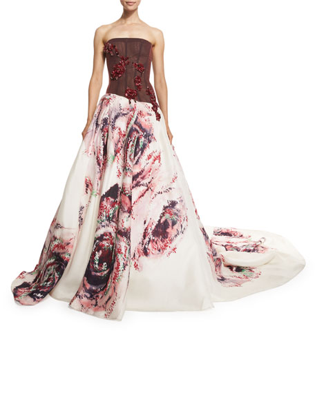 Embellished Rose-Print Strapless Gown, Burgundy